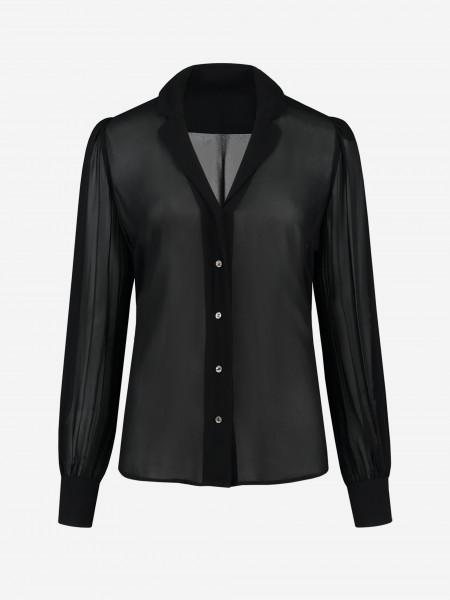 see through blouse met pofmouwen