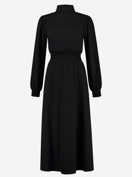 maxi-jurk met col en tailleband