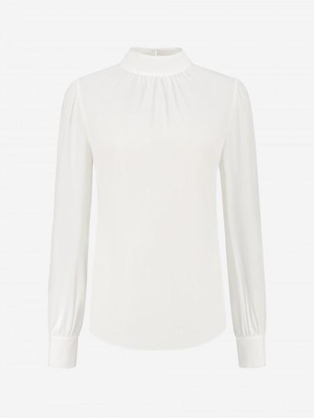 Effen witte blouse met hoge kraag