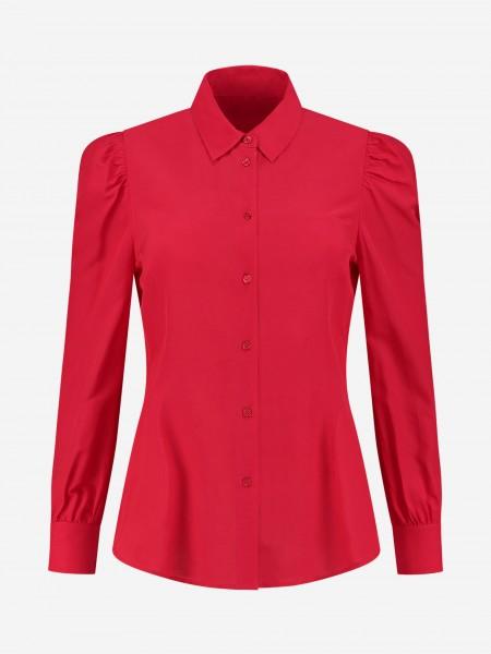 Rode blouse met pofmouwen