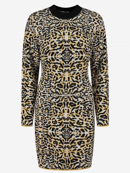 Luipaardprint jurk met lange mouwen