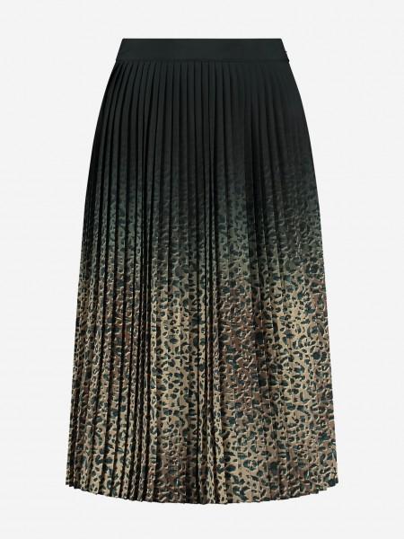 Geplooide rok met leopard print in beige