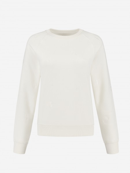 Sweater met all over F borduursel