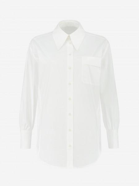Klassieke witte blouse met borstzakje