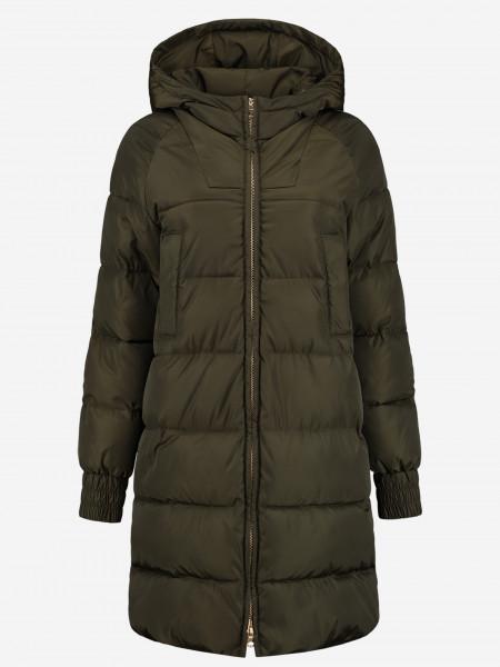 Lange Gewatteerde jas met capuchon